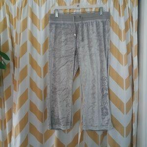 BCBG maxazria Size L Silver Velour Cropped pants